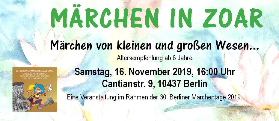 Märchen in Zoar von kleinen und großen Wesen... am Samstag, 16.11.2019, 16 Uhr, für Groß und Klein mit interessanten Spielen.