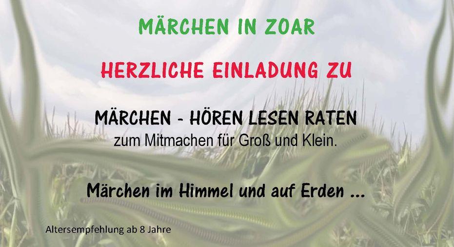 Märchen in Zoar im Himmel und auf Erden... am Samstag, 14.11.2020, 16 Uhr, für Groß und Klein mit interessanten Spielen.